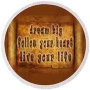 Inspirational Typography  Round Beach Towel