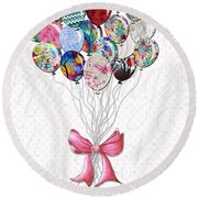 Inspirational Uplifting Floral Balloon Art A Bouquet Of Balloons Just For You By Megan Duncanson Round Beach Towel