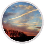 Interesting Sunset Round Beach Towel