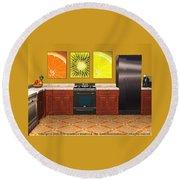 Interior Design Idea - Sweet Orange - Kiwi - Lemon Round Beach Towel