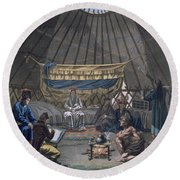 Interior Of A Kalmuk Yurt, 1812-13 Round Beach Towel