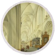 Interior Of Antwerp Cathedral, C.1668 Round Beach Towel