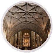 Interior Of Jeronimos Monastery Church In Lisbon Round Beach Towel