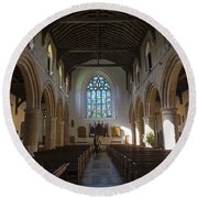 Interior Of St Mary's Church In Rye Round Beach Towel