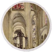 Interior Of The Cathedral Of St. Etienne, Sens Round Beach Towel