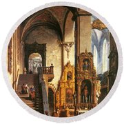 Interior Of The Dominican Church In Krakow Round Beach Towel