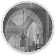 Interior Of The Mosque Of Kaid-bey Round Beach Towel