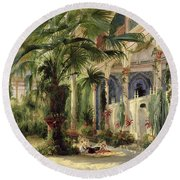 Interior Of The Palm House At Potsdam Round Beach Towel