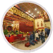 Interior Of Thien Hau Temple A Taoist Temple In Chinatown Of Los Angeles Round Beach Towel