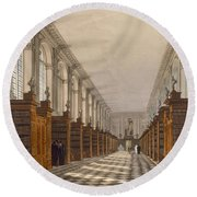 Interior Of Trinity College Library Round Beach Towel