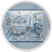 Interior Rendering 2 Round Beach Towel
