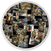 Interior Russian Submarine Horz Collage Round Beach Towel