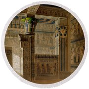 Interior View Of The West Temple Round Beach Towel by Le Pere