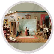Interior With Portraits Round Beach Towel