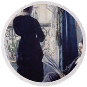 Interior Woman At The Window Round Beach Towel by Gustave Caillebotte