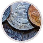 International Coins Round Beach Towel