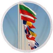 International Flags Nisyros Round Beach Towel