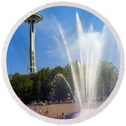 International Fountain And Space Needle Round Beach Towel