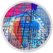 Interstate 10- Exit 255- Miracle Mile Overpass- Rectangle Remix Round Beach Towel