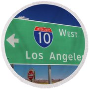Interstate 10 Highway Signs Round Beach Towel