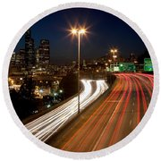Interstate Traffic In Seattle Washington Round Beach Towel