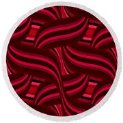 Intertwined Red Abstract Round Beach Towel