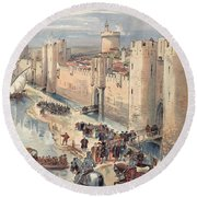 Interview Of Aigues-mortes Round Beach Towel