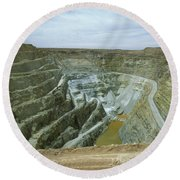 Inti Raymi Gold Mine Quarry In Oruro Round Beach Towel