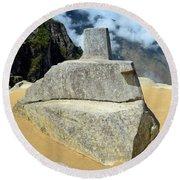 Inti Watana Stone Calendar At Machu Picchu Round Beach Towel