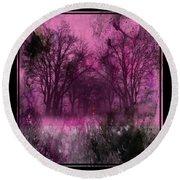Into A Dark Pink Forest Round Beach Towel