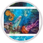 Into Deep Triptic Round Beach Towel by Mo T