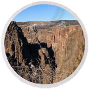 Into The Black Canyon Round Beach Towel