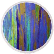 Into The Blue Abstract 2 Round Beach Towel