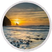 Into The Blue I Round Beach Towel by Marco Oliveira
