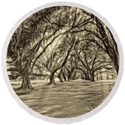 Into The Deep South - Paint 2 Sepia Round Beach Towel