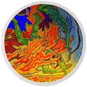 Into The Flames Of Hell Round Beach Towel