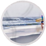 Into The Surf Round Beach Towel