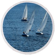Into The Wind - Crisp White Sails On Blue Round Beach Towel