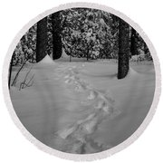 Into The Woods Pisgah Forest Black And White Round Beach Towel
