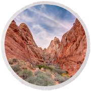 Into Valley Of Fire Round Beach Towel
