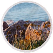 Inverness Beach Rocks  Round Beach Towel