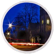 Inverness Cathedral At Night Round Beach Towel