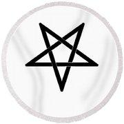 Inverted Black Pentagram Round Beach Towel