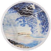 Inverted Lights At Trawscoed Aberystwyth Welsh Landscape Abstract Art Round Beach Towel