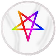 Inverted Rainbow Pentagram Round Beach Towel