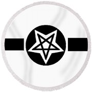 Inverted Wicca Military Symbol Round Beach Towel