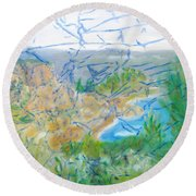 Invisible World Over Landscape Round Beach Towel