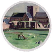 Iona Abbey From The Northwest Round Beach Towel