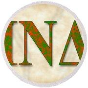 Iota Nu Delta - Parchment Round Beach Towel