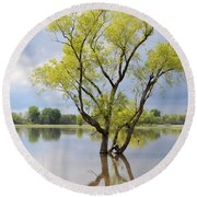 Iowa Flood Plains Round Beach Towel